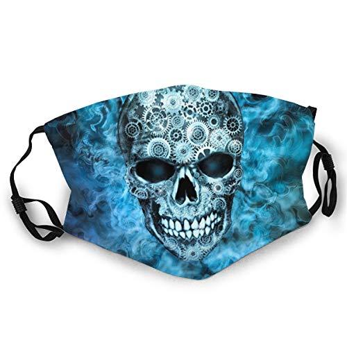 Verstellbarer Mundschutz Steampunk Totenkopf Blau Flammender Steampunk Totenkopf Anti-Staub Erwachsene Winddicht Halbgesicht für Männer Frauen