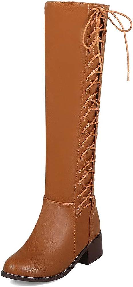 VIMISAOI Women's Slouchy Lace-up Knee SALE開催中 Boots Hee Mid 人気ブランド多数対象 High Chunky