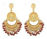 Touchstone Finamente martillado y en relieve cuentas rojas tradicionales mirada encantadora chand colgando con motivos de media luna baali aretes de joyería de diseño para mujer Rojo
