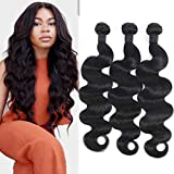 10A Mink Brazilian Virgin Hair Body Wave 3 Bundles Deal 100% Unprocessed Real Brazilian Human Hair Weave Weft Body Wave Human Hair Bundles Human Hair Extensions Natural Black for Women 14 16 18 Inch