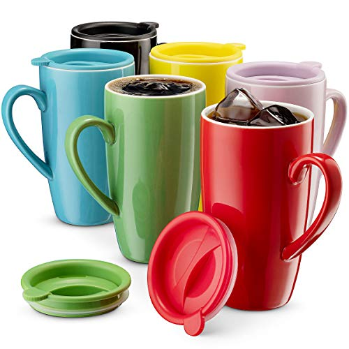 MITBAK 6-Pack Ceramic Coffee Mug Set with Lids (16-Ounce) | Large Colored Tumbler Mugs Great for...
