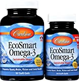 Carlson - EcoSmart Omega-3, 1000 mg Omega-3s Sustainable Source, Heart Health, Brain Function & Vision Support, Lemon, 90+30 soft gels