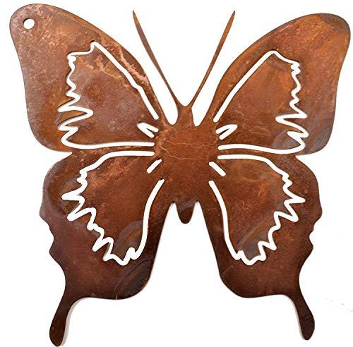 Rostikal | Schmetterling zum Hängen | Edelrost Deko für Haus und Garten | 12 x12 cm