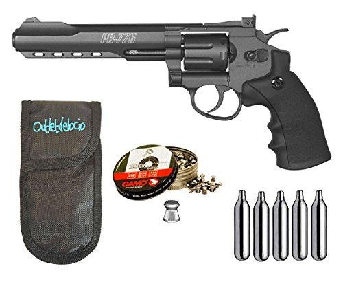 Outletdelocio. Revolver Perdigón Gamo PR-776. Calibre 4,5mm. + Funda balines + bombonas co2