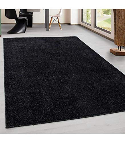Teppich Kurzflor Modern Wohnzimmer Einfarbig Meliert Uni günstig Versch. Farben - Anthrazit, 280x370 cm
