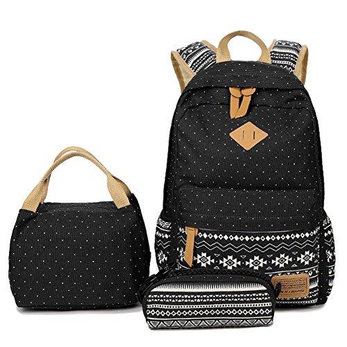 Gestreifter Rucksack/Schultasche mit Laptopfach von Artone - lässiger Schulrucksack, Black Dot Lunch Bag Pencil Case Set of 3 (Schwarz) - FIGAROXP111714