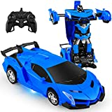 Remote Control Car, RC Deformation Robot Car Toy, 360 Degree Rotating with LED Light, Transform Robot RC Car Age 4, 5, 6, 7, 8-12 Years Old for Kids, Boys and Girls Best Birthday Gifts (Blue)