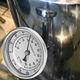 Sutinna Termometro bimetallico 3.1x3.6in Portatile, termometro a quadrante, Acciaio Inossidabile 0 ℉ -220 ℉ per pentole di scorta per bollitori per Birra Fatta in casa