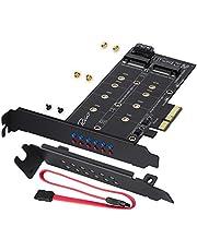 Rivo Tarjeta adaptadora doble M.2 SATA III y M2 NVME a PCIe 3.0 X4 - Añade dispositivos SSD M.2 a PC o placa base, soporta 1 M.2 SATA III (clave B) SSD y segundo SSD M.2 PCIe 3.0 (llave M)
