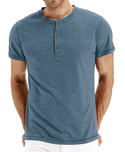 PEGENO Men's Casual Slim Fit Short Sleeve Henley T-Shirts Cotton Shirts VG-Blue-US L