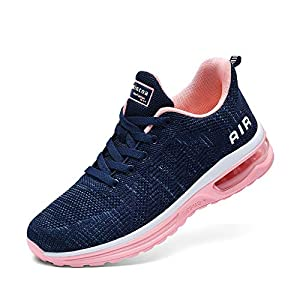 Lamincoa Women's Running Shoes Fashion Air Cushion Sneakers Lightweight Anti Slip Sports Shoes for Indoor Outdooor Jogging Blue-Pink 8