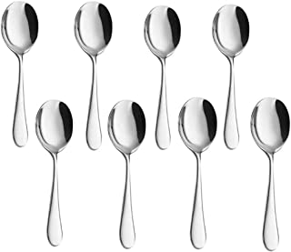 Stainless Steel Buffet Serving Spoon Set of 8 for Can Banquet Cooking Kitchen Basics 7.8inch(Sliver)