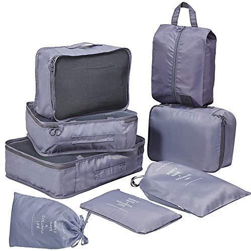 アレンジケース トラベルポーチ 8点セット 化粧品 靴 下着収納 圧縮バック 衣類収納バッグ 軽量 防 水 大容量 出張旅行用 バック