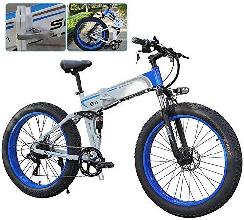 Bicicleta eléctrica Plegable bicicleta eléctrica for Adultos 7 Speed Shift bicicleta de montaña de 26 pulgadas ruedas de radios Montaña eléctrica de la bicicleta MTB de doble suspensión de bicicleta