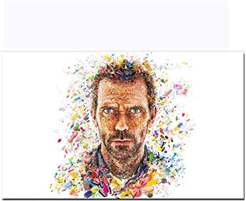 Pintura De La Lona 60x90cm Sin Marco Arte de retrato Hombre colorido Color vivo Cápsula Impresión Póster Sala de estar Decoración del hogar