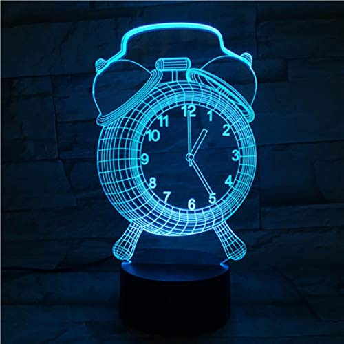 HGFHGD Reloj Despertador Cable de iluminación LED 3D Decorativo Ambiente de Vida...