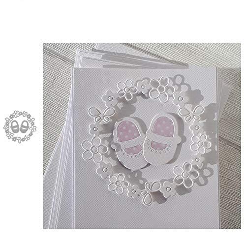 Muzhili3 Stanzschablonen für Babyschuhe, Blumen-Design, Metall, für Scrapbooking, Papierkarten, Album, Schablone – Silber