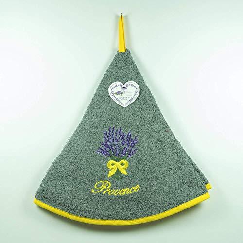 Torchon Essuie Mains Bouquet de Lavande - Rond - Motifs Brodés - 100% Coton - Ø 65cm de diamètre - Gris, Ø 65 cm