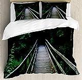 ABAKUHAUS Dunkler Wald Funda Nórdica, Allaire Park New Jersey, Estampado Lavable, 3 Piezas con 2 Fundas de Almohada, 230 cm x 220 cm, Gris carbón Verde