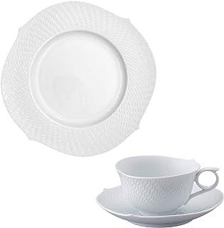 【正規輸入品】 マイセン [MEISSEN] 波の戯れ ホワイト ティーC/S&ケーキ皿 3Pセット 000000/29470/29633/3T