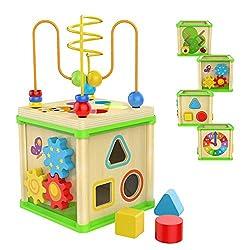 Cinque attività: Esplorazione e divertimento sono dietro ogni angolo del cubo multi-attività per bambini e bambine di 1 anno. Ci sono 5 attività per bambini di un anno in questo cubo di attività per bambini, tra cui formine in legno da infilare e lab...