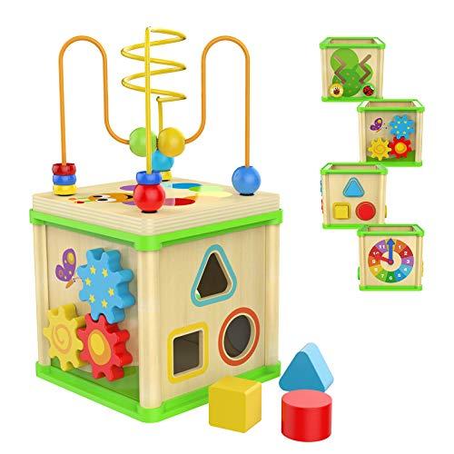 TOP BRIGHT Motorikwürfel ab 1 Jahr Holz,5-in-1 Spiele-Center Aktivität,pädagogisches Spielzeug für Jungen und Mädchen Geschenke