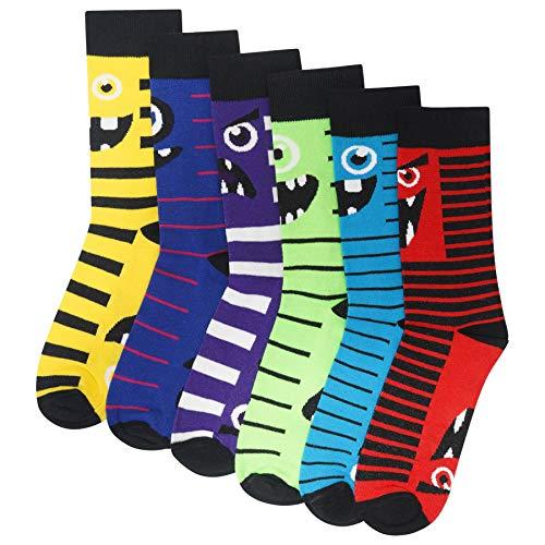 Herren/Kinder, 6 Stück, neuartige Monster-Socken – Baumwollreiche Designer-Socken – Schwarz mit leuchtenden Farben Gr. 40/45 EU, multi