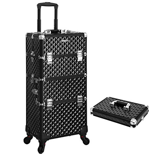 SONGMICS Trolley, Make-up Koffer, Kosmetikkoffer, für Nageldesign, Make-up Organizer, Koffer mit Tragebox, schwarz JHZ04B