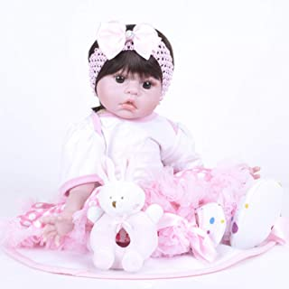 JTYX DOLLS 22 inches Simulation Baby Cloth Body Soft Silicone Reborn Doll Brown Eyes Short Hair Girl Realistic Doll Children Birthday Gift Toys (Not Washable),Color1,55cm