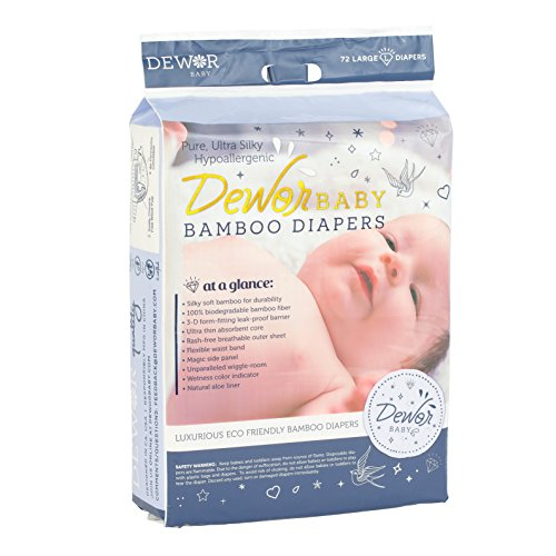 Dewor Baby Premium Bamboo Disposable Diapers, Eco-Friendly Diapers, Diaper Size Large (20-31 lbs), 72 Count