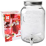 Dispensador 8 litros, dispensador de Bebidas de Vidrio con Grifo.