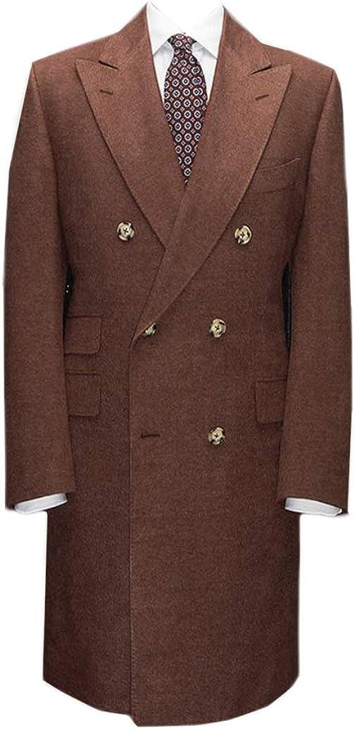 Men's Wool Blend Peacoat Double Breasted Mid-length Overcoat Peaked Lapel Regular Fit Formal