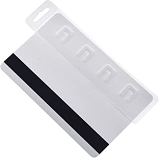 5 Pack - Rigid Vertical Half Card Swipe Badge Holder - Hard Plastic Clear Leaves Mag Stripe Exposed for Easy Swiping Access to Magnetic Strips on POS ID's & Credit Cards by Specialist ID