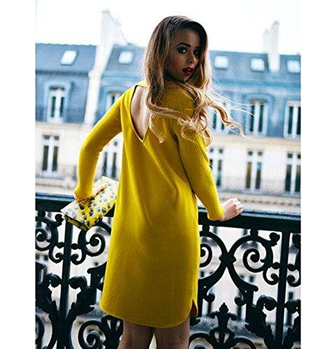 Distinct® Mini Robe Pleine Couleur Backless Creuse des Femmes sur O Cou Long Manches OL Travail lâche élégante Robe (Taille M)