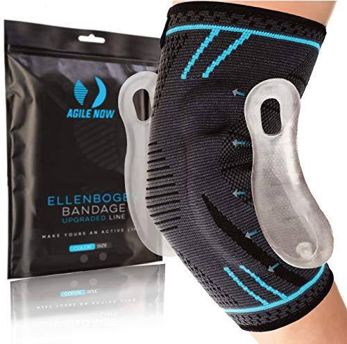 AGILE NOW Ellenbogenbandage Tennisarm UPGRADED Stabilisiert & Schützt für Tennis Bandage Ellbogen Bandage Ellenbogen Armbandage Herren Damen (L)