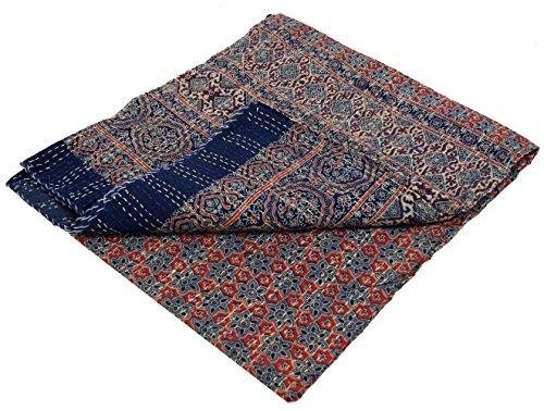 Guru-Shop Quilt, Quilt, Bedsprei, Geborduurde Sjaal, Indiase Bedsprei, Bedsprei - Monster 35, Blauw, Katoen, 260x225 cm, Quilts Quilts