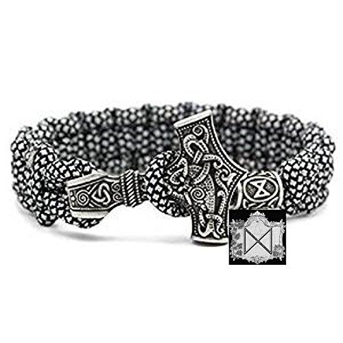 Dagaz Rune Charm Perle - Viking Wikinger Thor`s Hammer Thorhammer Armband - 100% Handarbeit Outdoor Buntes Grau Einzigartiges Paracord Antike Silber Armreif Raven Nordisch Keltisch Nr.12