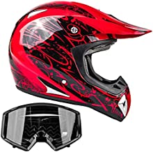 Typhoon Adult Dirt Bike Helmet & Goggles ATV Motocross DOT, Red w/Black (Large)