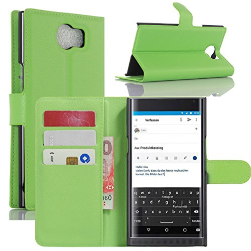BlackBerry Priv Hülle, HualuBro [Standfunktion] [All Aro& Schutz] Premium PU Leder Leather Wallet Handy Tasche Schutzhülle Hülle Flip Cover mit Karten Slot für BlackBerry Priv Smartphone (Grün)