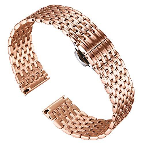 BINLUN Correas de Reloj de Acero Inoxidable de Malla de Reemplazo Ligero Correa Pulida para Hombres Reloj de Mujer 12mm/14mm/16mm/18mm/20mm/22mm con Hebilla de Mariposa