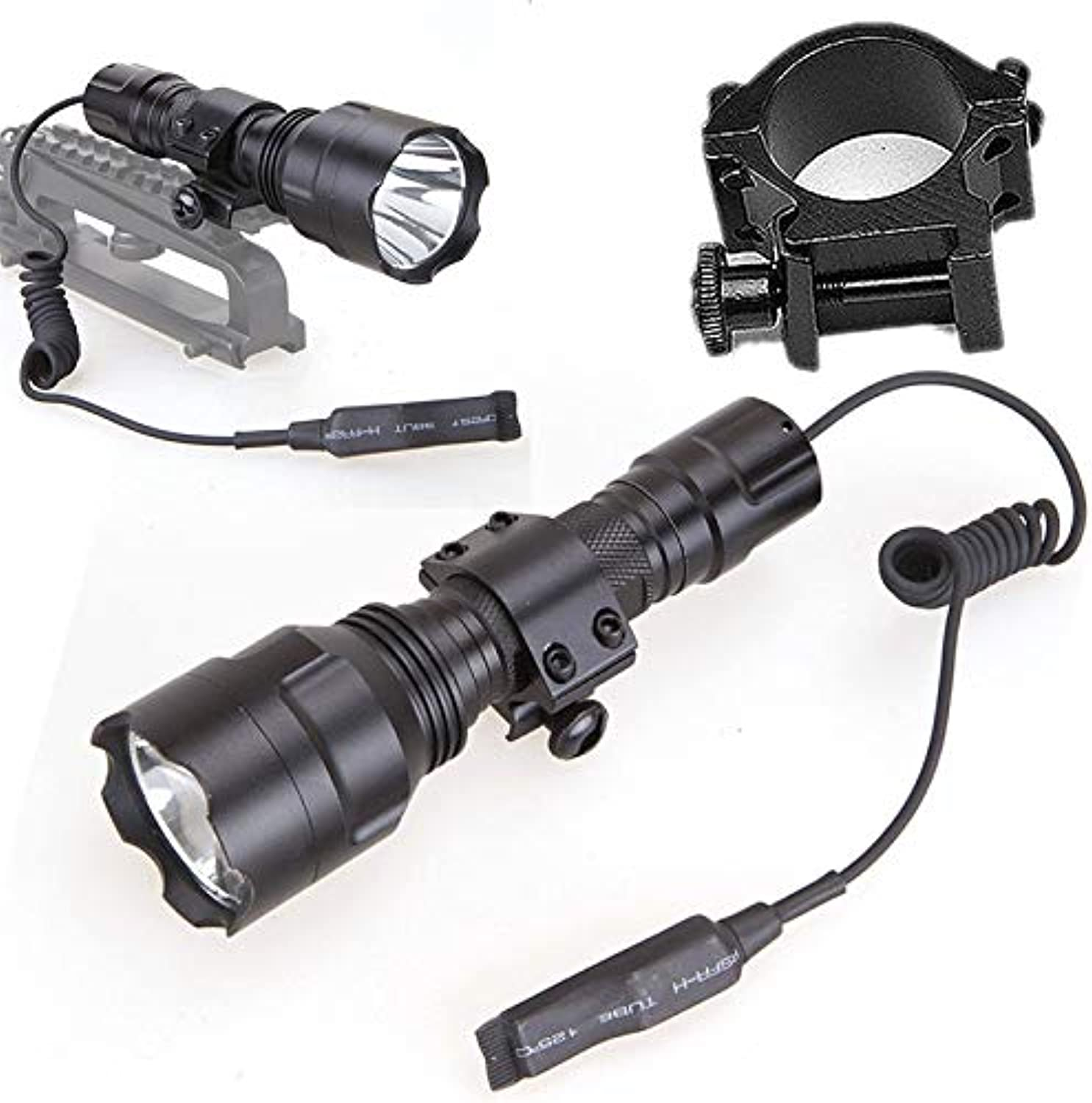 DaphotStore  New Hot Tactical 600LM T6 LED Flashlight Hunting Torch for Outdoor Lamp with 20MM Ring Mount Remote Pressure Switch