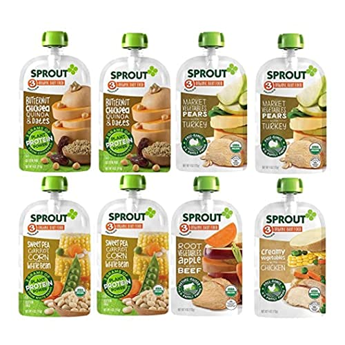 Sprout Organic Baby Food, Stage 3 Pouches, 8 Flavor Meat & Plant Protein Variety Pack, 4 Oz Purees (Pack of 12), Packaging May Vary