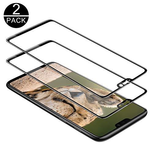 TECHKUN Panzerglas Schutzfolie für OnePlus 6 [2 Stück], 9H Festigkeit Panzerglasfolie Ultra Dünn HD Bildschirmschutzfolie Vollständige Abdeckung Glas Folie für OnePlus 6 (Schwarz)