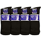 Falari Unisex Diabetic Socks Crew (12 Pairs ) 9-11, 10-13, 13-15, Black, Grey, White