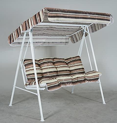 RETI GRITTI Ricambio Completo Cuscino + Tetto per Dondolo 3 posti (150 cm) di colore rigato marrone, beige e bianco