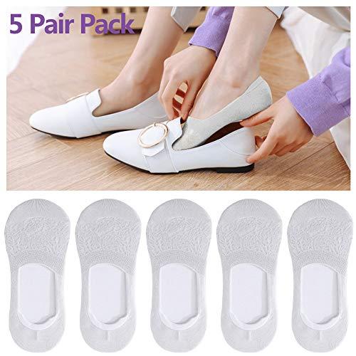 Jjwwhh - 10 pares de calcetines invisibles para mujer de algodón, calcetines cortos transpirables, aptos para calcetines invisibles de mujer en primavera/verano/otoño, gris