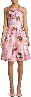 Calvin Klein womens Floral Printed Embellished Halter Fit and Flare Dress Dress