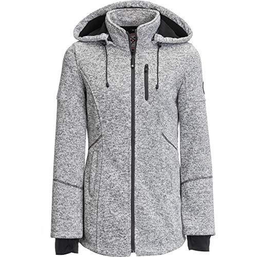 Halifax Women's Knit Jacket with Hood (Medium, Heather Grey)