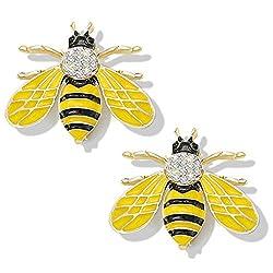 Yellow Honey Bee Brooch With Rhinestone