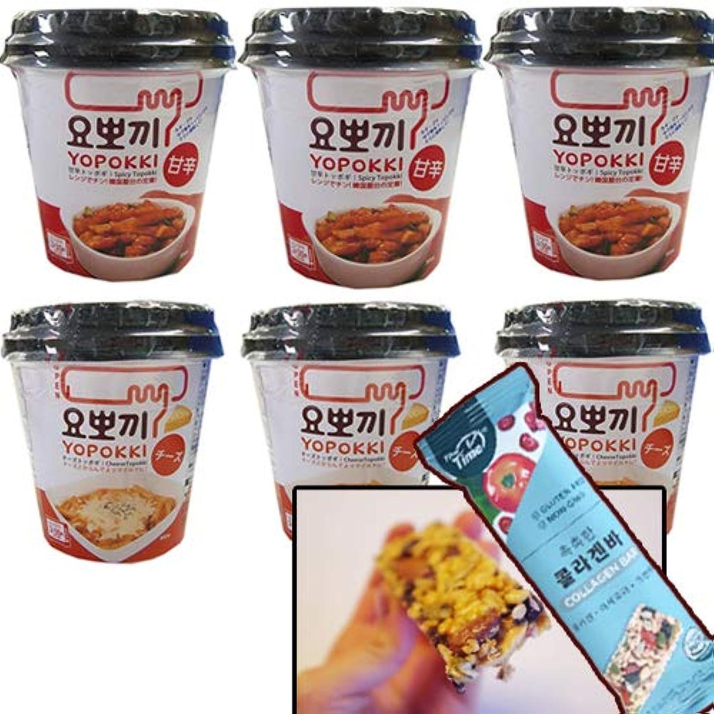 即席チーズトッポキ (120g)カップ ×3個+即席トッポキ (140g)カップ ×3個+栄養BAR特に女性向けオフィスBAR 1袋25g x1袋